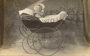 Vintage pram with baby 2